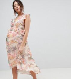 Платье с цветочным принтом и оборками Hope & Ivy Maternity - Мульти