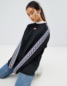 Черный свитшот с круглым вырезом и лентами по бокам Nike - Черный
