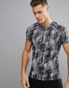 Обтягивающая футболка с геометрическим принтом ASOS 4505 - Серый