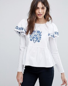 Блузка с вышивкой и пышными рукавами Fashion Union - Белый