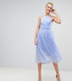 Премиум-платье миди с юбкой из тюля ASOS TALL - Синий