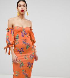 Платье миди с открытыми плечами и завязками на рукавах True Violet - Мульти