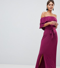 Платье макси с открытыми плечами и ярусными оборками Silver Bloom - Фиолетовый