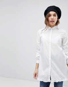 Длинная рубашка с оборкой Only - Белый