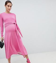 Платье миди в горошек с поясом ASOS DESIGN Maternity - Мульти