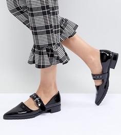 Лакированные туфли на плоской подошве с острым носом Monki - Черный