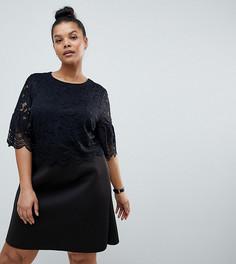 Платье мини с кружевным кроп-топом и фактурной отделкой ASOS DESIGN Curve - Черный