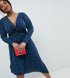 Платье миди в горошек с узлом спереди и асимметричным краем ASOS DESIGN Curve - Мульти