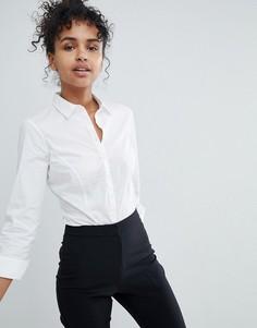 Боди-рубашка из эластичного хлопка с длинными рукавами ASOS DESIGN - Белый