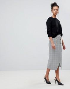 Двубортная юбка-карандаш в клетку ASOS DESIGN - Мульти