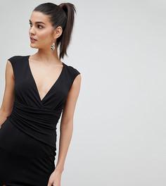 Облегающее платье мини с запахом и разрезами Flounce London - Черный