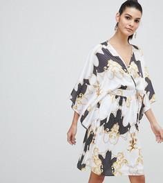 Атласное платье миди с рукавами-кимоно и принтом Flounce London - Мульти