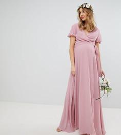 Платье макси с запахом, поясом и пышными рукавами TFNC Maternity - Розовый