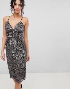 Платье-футляр с кружевом и вышивкой Forever New - Розовый
