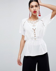 Блузка с короткими рукавами Ax Paris - Кремовый