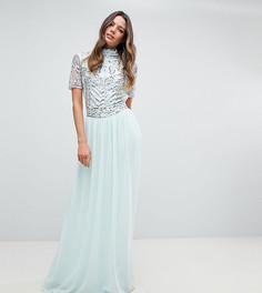 Декорированное платье макси Frock And Frill Tall Premium - Синий
