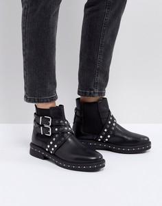 Кожаные байкерские ботинки с заклепками ASOS ADVENT Premium - Черный