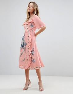 Платье миди с запахом, вышивкой и оборками ASOS PREMIUM - Фиолетовый