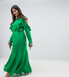 Платье макси с оборками на рукавах и вырезами на плечах ASOS DESIGN Curve - Зеленый