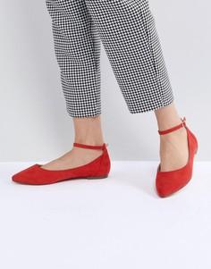 Красные туфли на плоской подошве с острым носом Faith Allie - Красный