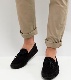 Черные замшевые мокасины для широкой стопы с завязкой спереди ASOS - Черный
