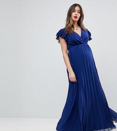 Платье макси с плиссированной юбкой и оборками ASOS Maternity - Темно-синий