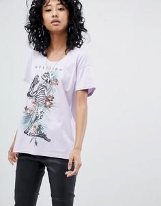 Oversize-футболка с принтом скелета Religion - Фиолетовый
