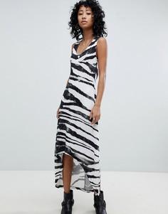 Платье-майка с асимметричным краем и зебровым принтом Religion - Серый