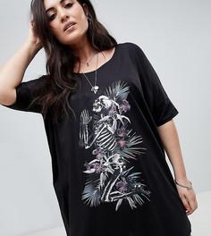 Свободное платье-футболка с принтом Religion Plus - Черный