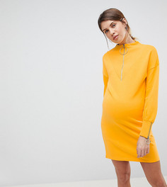 Трикотажное платье для кормящих мам с молнией ASOS MATERNITY - Желтый