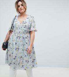Чайное платье миди с цветочным принтом Lovedrobe - Мульти