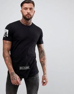 Удлиненная футболка с принтом на рукавах и ступенчатым краем Religion - Черный