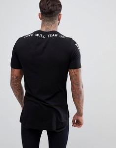 Черная футболка с асимметричным краем и принтом на спине Religion - Черный