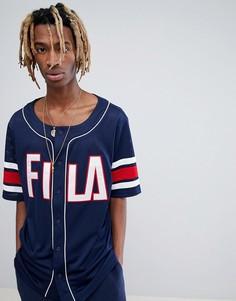Темно-синяя футболка из сетки Fila Black Line - Темно-синий