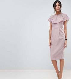 Платье-футляр миди с кружевной отделкой ASOS TALL - Розовый