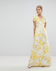Платье макси с цветочным принтом Max&Co - Белый