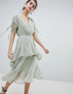 Чайное платье миди с оборкой и принтом Neon Rose - Серый