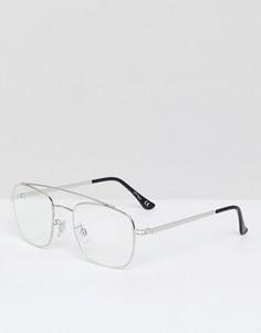 Серебристые очки-авиаторы с прозрачными стеклами Jeepers Peepers - Золотой
