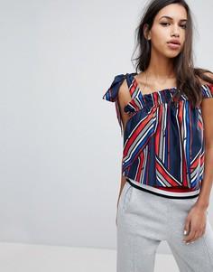 Блузка в полоску с завязками на плечах Gigi Hadid - Мульти Tommy Hilfiger