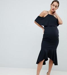 Асимметричное платье миди с открытыми плечами и оборками ASOS DESIGN maternity - Черный