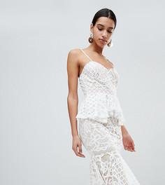 Кружевное платье миди с баской Boohoo - Белый