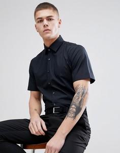 Строгая приталенная рубашка с короткими рукавами Calvin Klein - Черный