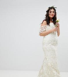 Кружевное платье бандо ASOS EDITION Curve Wedding - Белый