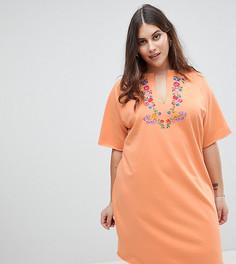 Трикотажное платье-футболка с вышивкой ASOS CURVE - Оранжевый