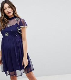 Короткое приталенное платье с вышивкой и кружевной отделкой ASOS MATERNITY - Темно-синий