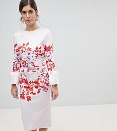 Платье-футляр с оборками на рукавах и принтом True Violet - Мульти