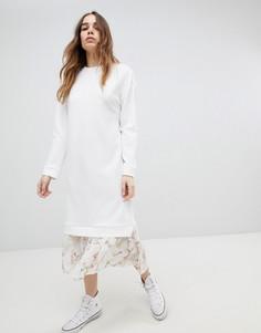 Платье миди 2 в 1 с цветочным принтом на подоле ASOS DESIGN - Белый