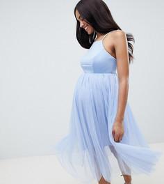 Премиум-платье с юбкой из тюля ASOS DESIGN maternity - Синий