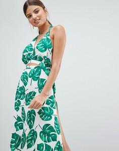 Пляжное платье с принтом листьев Boohoo - Мульти