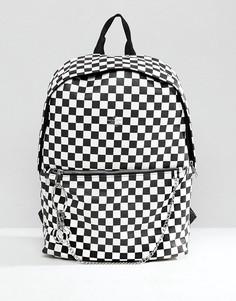 Рюкзак из искусственной кожи с шахматным принтом ASOS - Черный